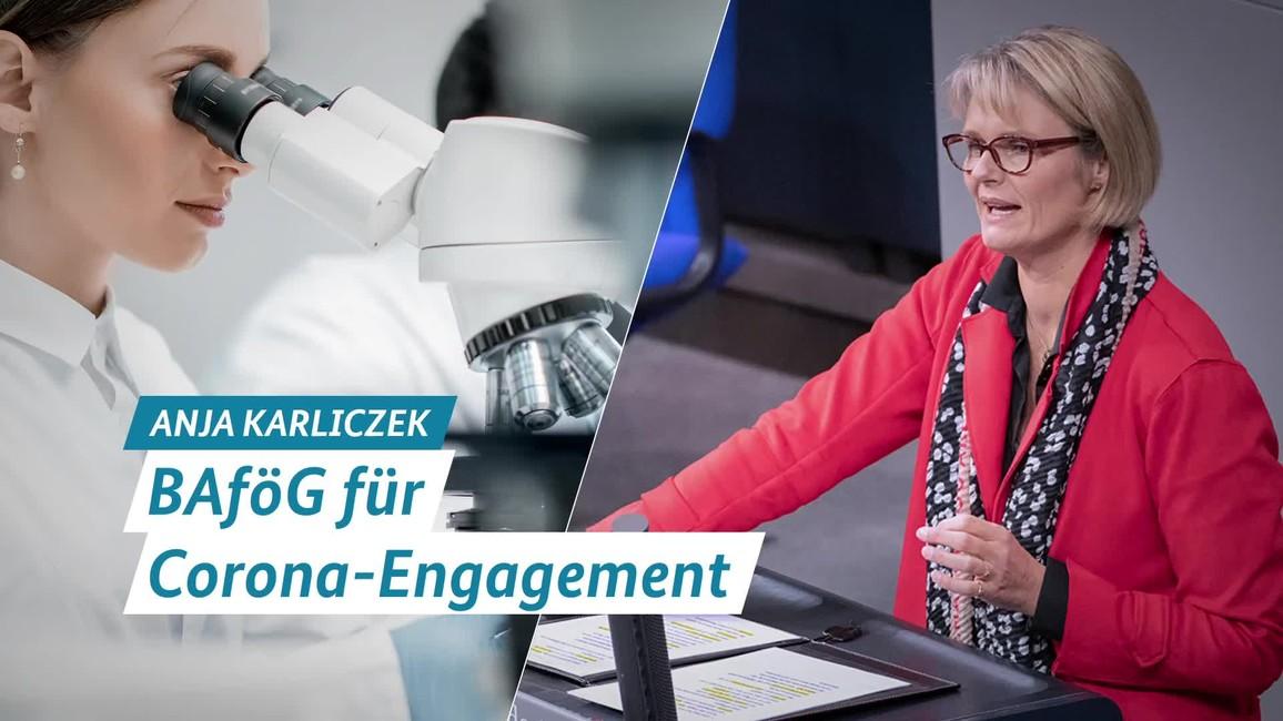 Poster zum Video Statement von Ministerin Anja Karliczek: BAföG für Corona Engagement
