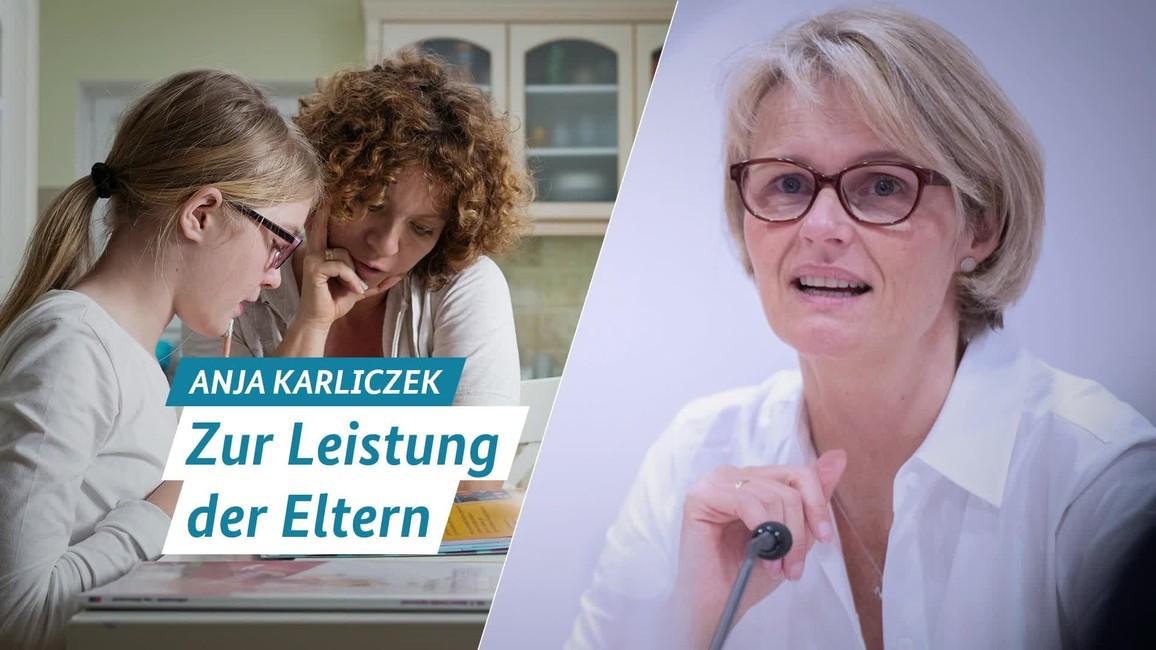 Poster zum Video Statement von Ministerin Anja Karliczek: Zur Leistung der Eltern