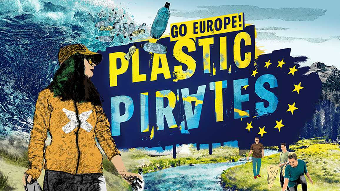 "Keyvisual der Citizen-Science Kampagne ""Plastic Pirates Go Europe!"""