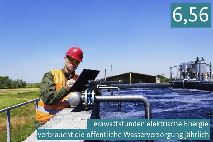 6,56 Terawattstunden elektrische Energie verbraucht die öffentliche Wasserversorgung jährlich