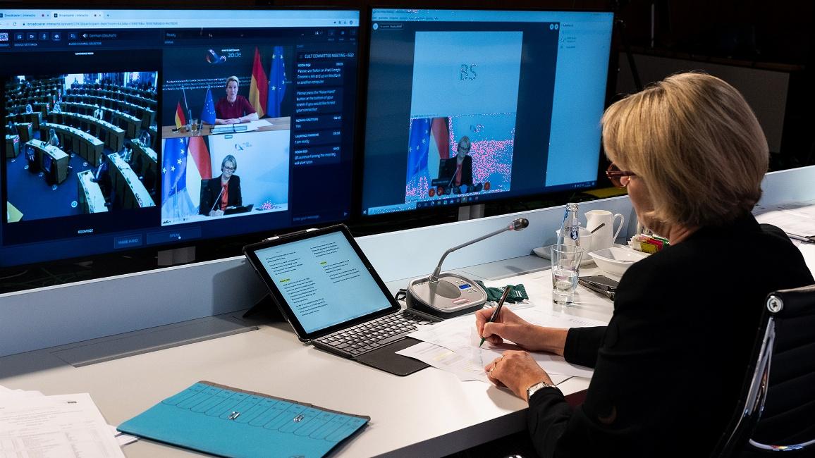 Bundesministerin Anja Karliczek stellte heute im Rahmen einer Videokonferenz mit dem Ausschuss für Kultur und Bildung (CULT) des Europäischen Parlaments das Programm der deutschen Ratspräsidentschaft vor.
