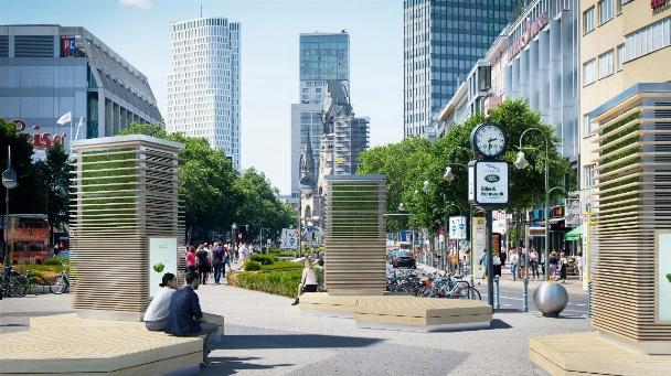 Am Gleisdreieck in Berlin wird ein City Tree aufgebaut: Vor dem Einsatz der Moosmatten ist sein aufwendiges technisches Innenleben noch sichtbar.
