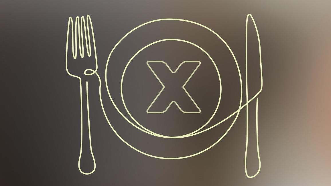 Das Bild zeigt einen Teller mit einem X - das steht für die Dekade gegen Krebs. Neben dem Teller sind Messer und Gabel zu sehen.