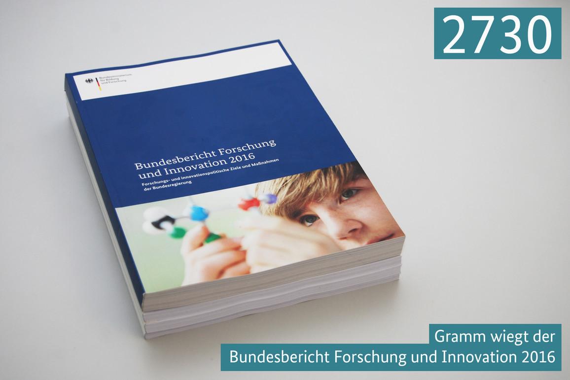 2730 Gramm wiegt der Bundesbericht Forschung und Innovation 2016