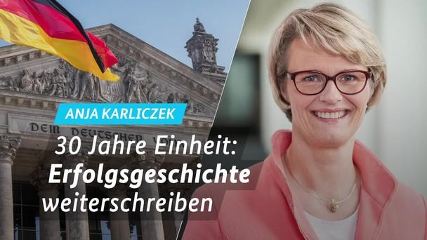 Poster zum Video Grußwort von Ministerin Karliczek zum Tag der Deutschen Einheit