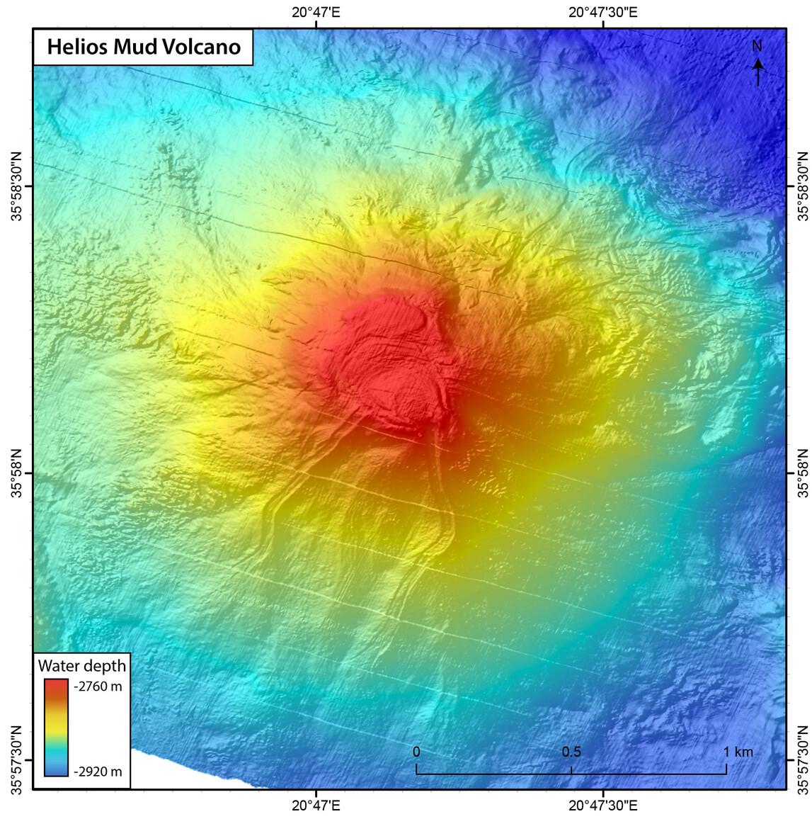 """Karte vom nach der SONNE benannten Schlammvulkan """"Helios"""""""