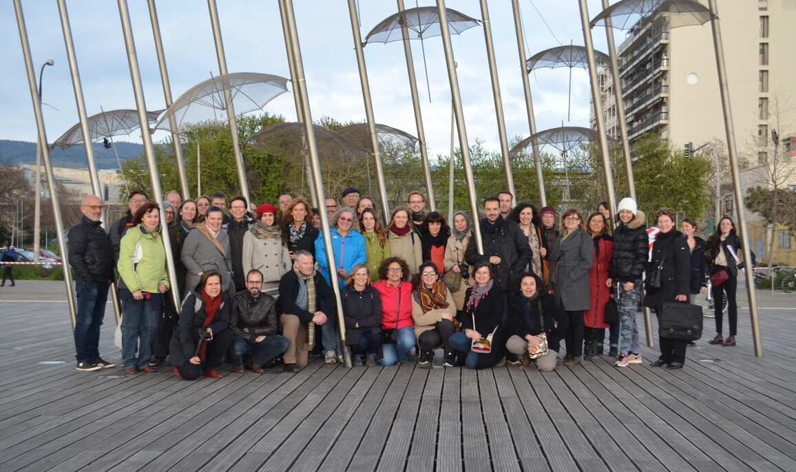 Beteiligte am COST-Projekt aus Wissenschaft und Praxis erforschen Kleingärten und deren Auswirkungen auf Städte, Menschen und Umwelt. Hier bei einem Treffen in Thessaloniki 2016 .