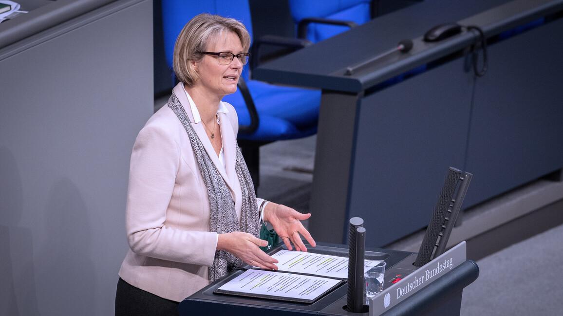 Bundesministerin Anja Karliczek in ihrer Rede zur Nationalen Bioökonomiestrategie.