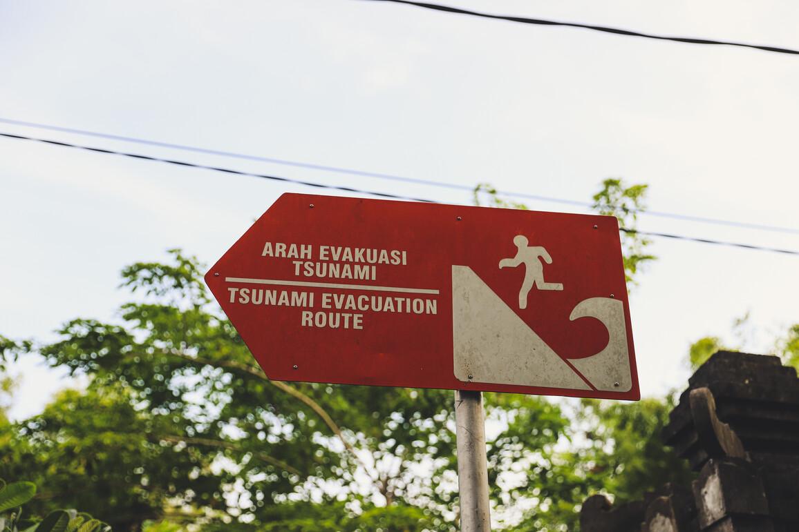 Evakuierungsroute im Falle eines Tsunamis