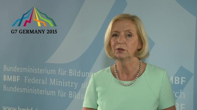 Poster zum Video Bundesforschungsministerin Johanna Wanka zum Treffen der G7-Wissenschaftsminister