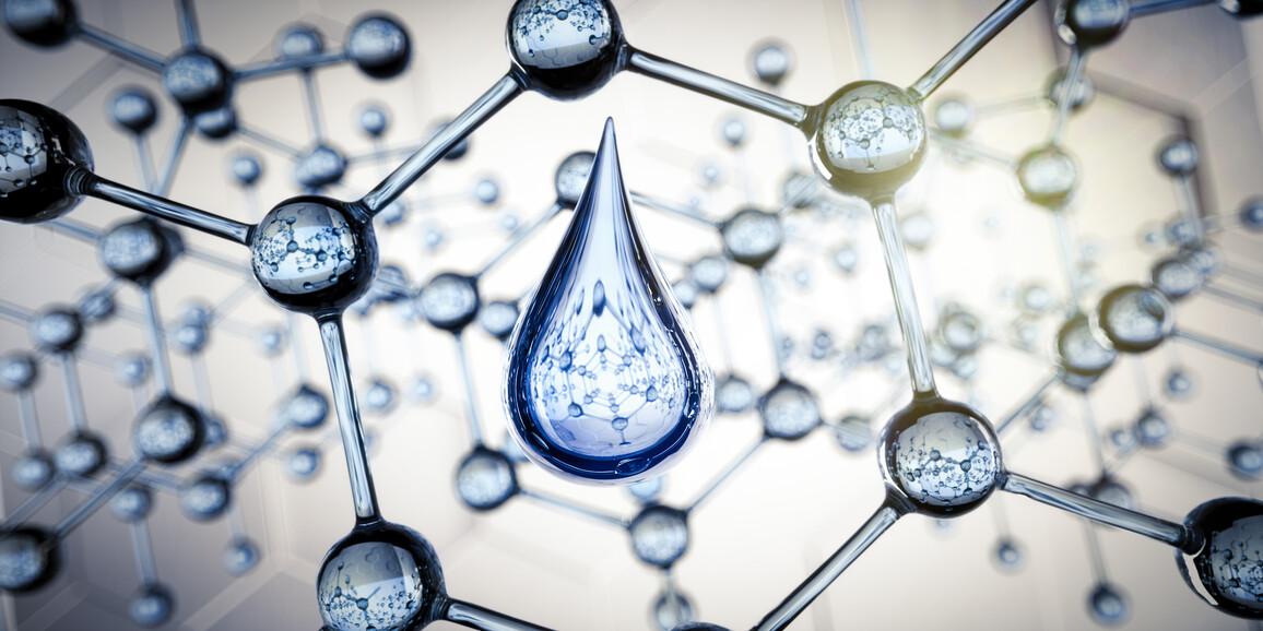 Wassertropfen und transparente Molekülstruktur - Nanotechnologie