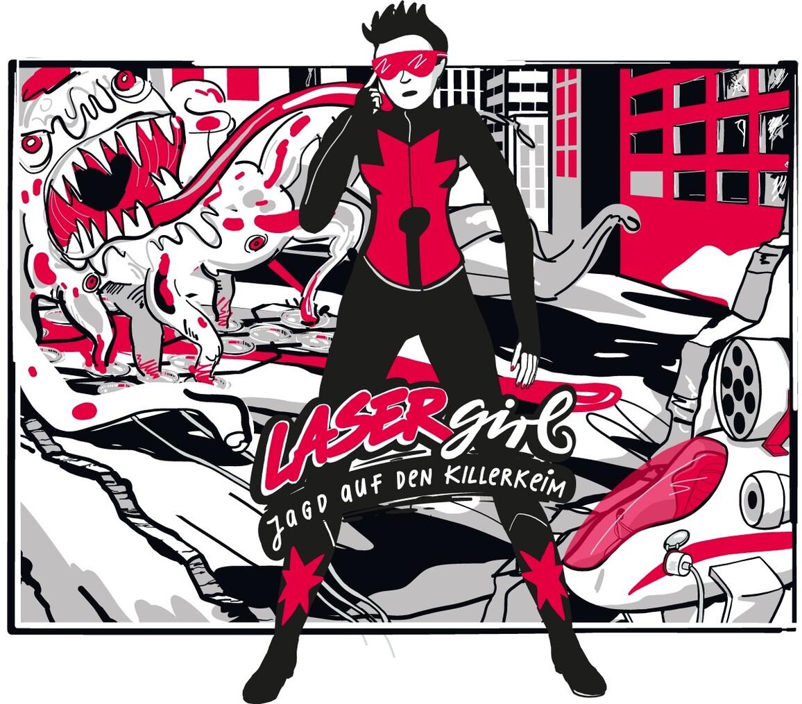 Header des Comics 'Lasergirl: Jagd auf den Killerkeim'
