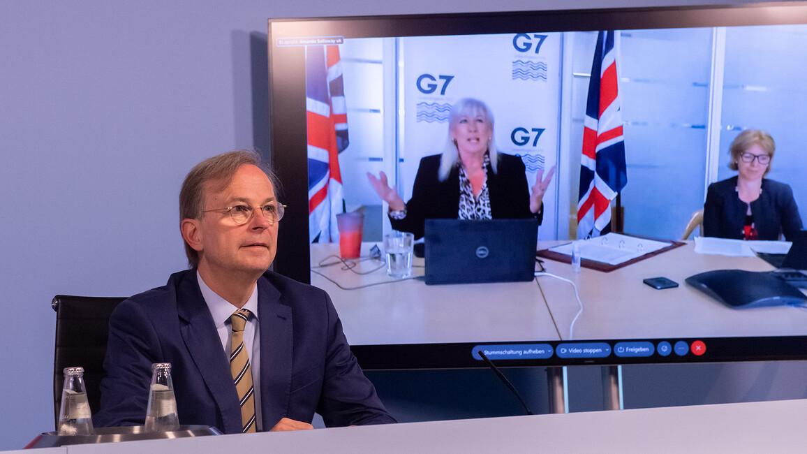 Thomas Rachel während des virtuellen G7-Ministertreffens