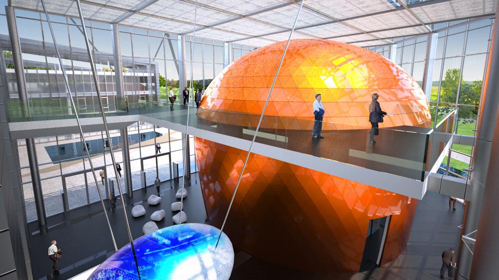 Die Architektur an den drei ELI-Standorten ist sehr modern. Hier ein Blick in die Eingangshalle von ELI-ALPS in Szeged (Visualisierung).