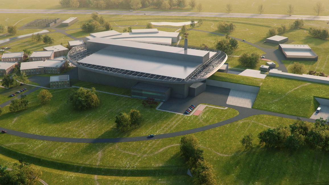 Architekturmodell des Laborkomplexes der ESS. Von rechts kommt ein energiereicher Ionenstrahl, der im zentralen Gebäude Neutronen aus Atomkernen schlägt. Diese werden dann in das hinten liegende Laborgebäude gelenkt.