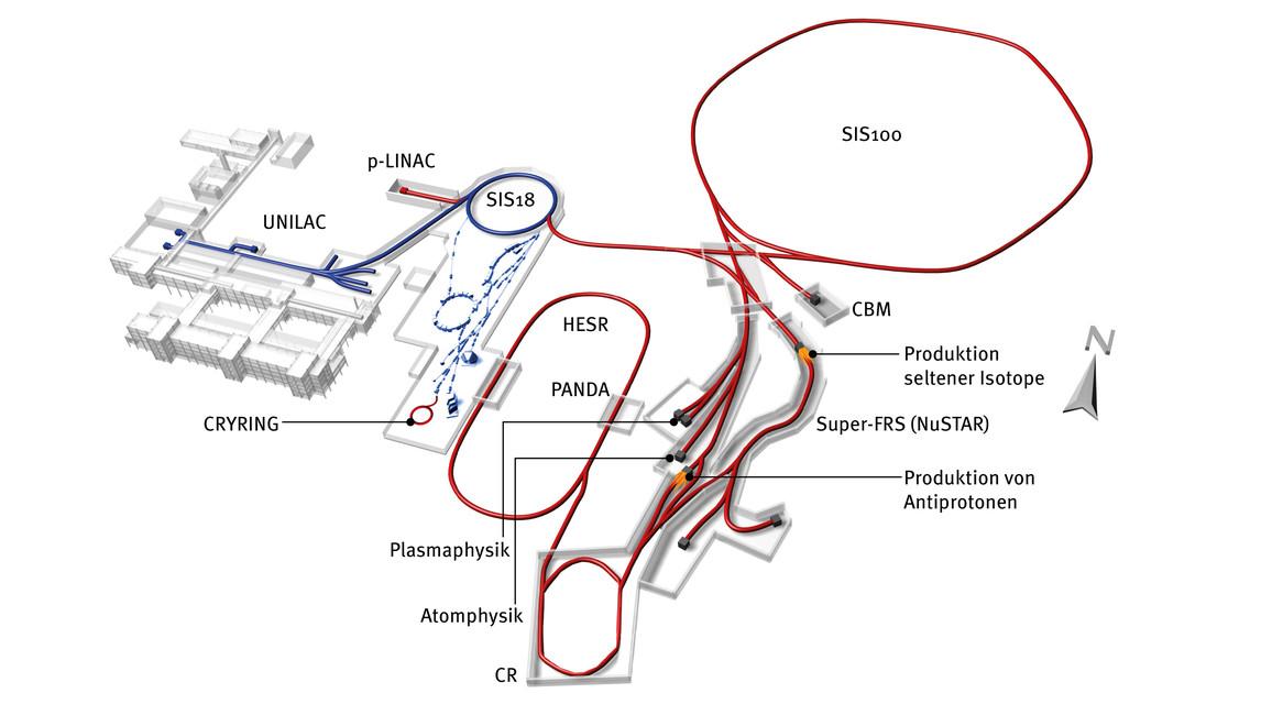 Modell des geplanten Beschleunigerzentrums FAIR in Darmstadt.