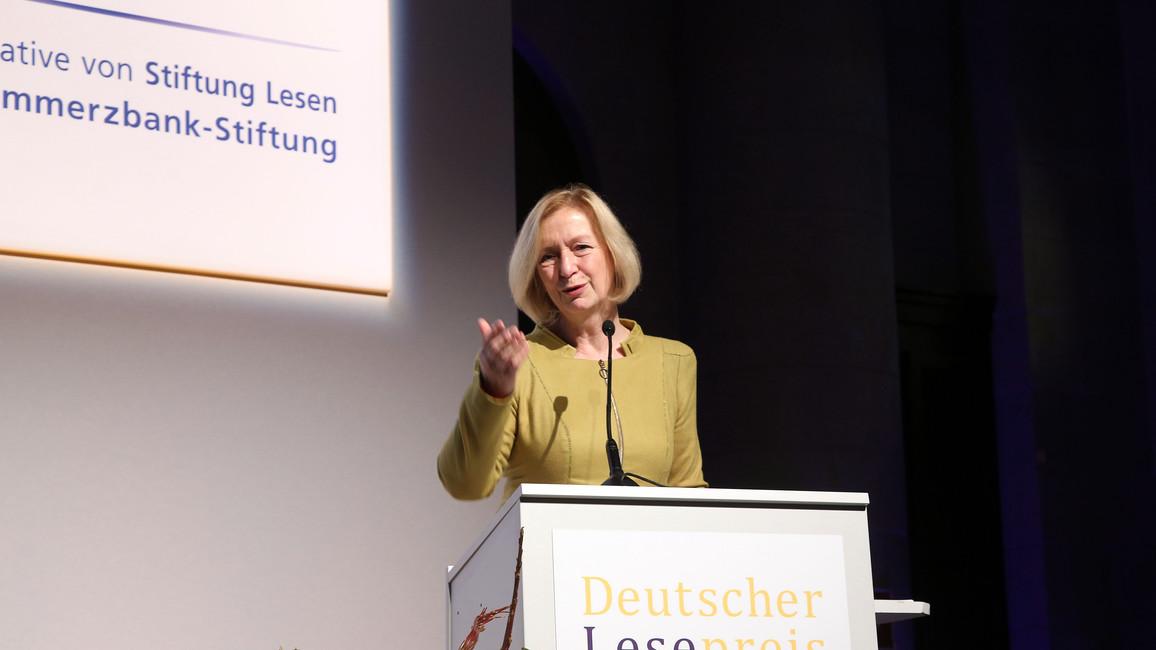 Bundesministerin Wanka auf der Preisverleihung des Deutschen Lesepreises 2016