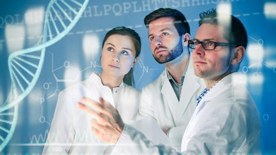 Wissenschaftler untersuchen einen DNA-Strang