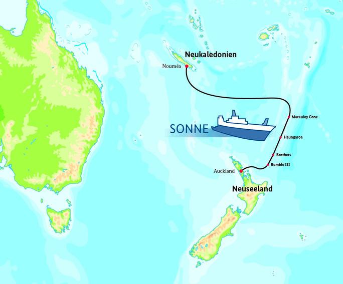 Karte der SONNE-Route bei Neuseeland
