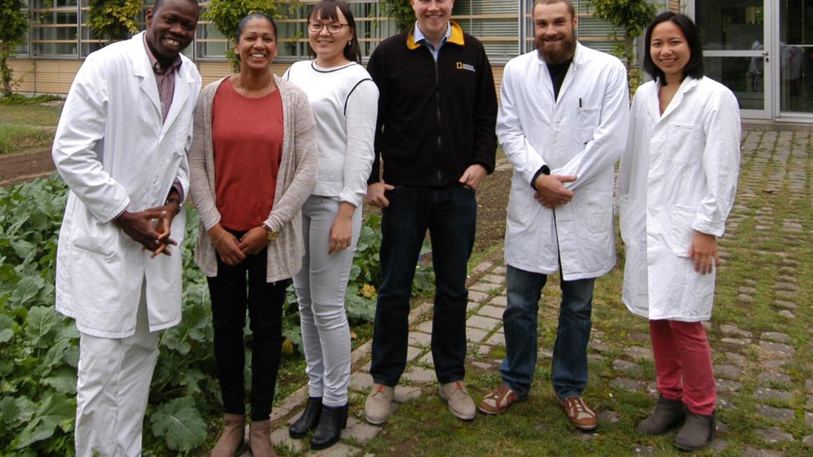 Das Bild zeigt das Nachwuchsforschungsteam des Projekts OxiLiFungi (v.l.n.r.): Tidjani Cisse, Jennifer Caesar, Zhanar Sadykova, Fabien Schultz, Daniel Helmholz, Ngugen Phuong Ahn