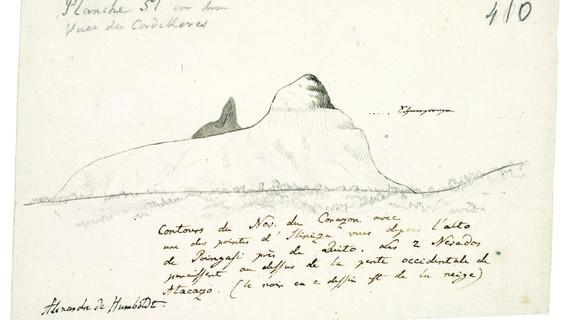 """Tagebuch VIIbb/c, 410r: Skizze der Tafel 51 des Humboldtschen Werks """"Vues des Cordilleres', Kontur des Berges Corazon, mit gestrichelter Linie ist die """"Schneegrenze' eingezeichnet. Humboldt beschreibt in der Notiz die Lage des Berges in der Nähe von Quito"""
