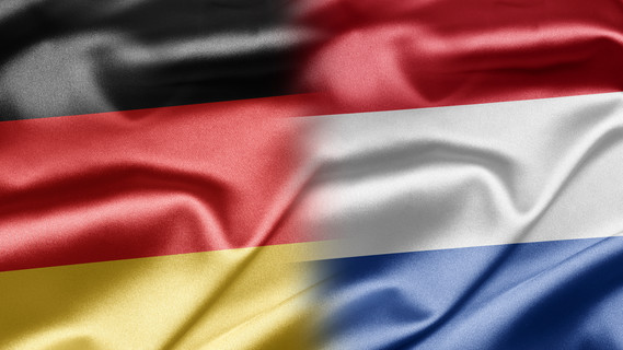 Flaggen von Deutschland und den Niederlanden