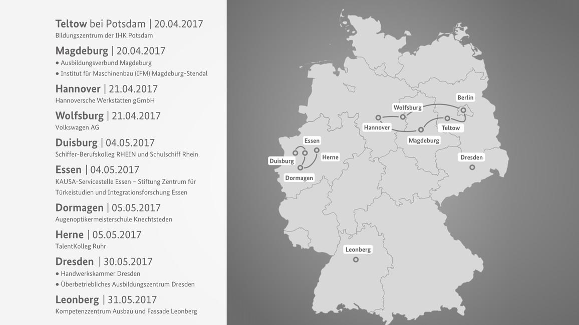 Karte Frühlingsreise der Ministerin