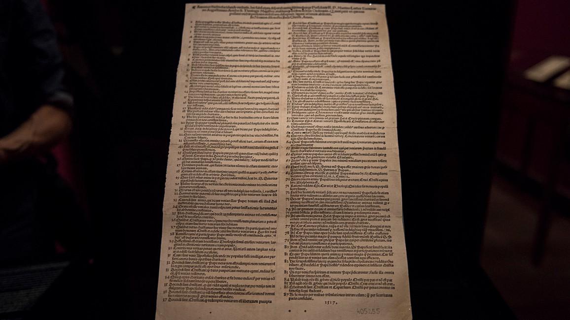 Luthers 95 Thesen; 1517; Typendruck und Handschrift auf Papier; Geheimes Staatsarchiv Preussischer Kulturbesitz