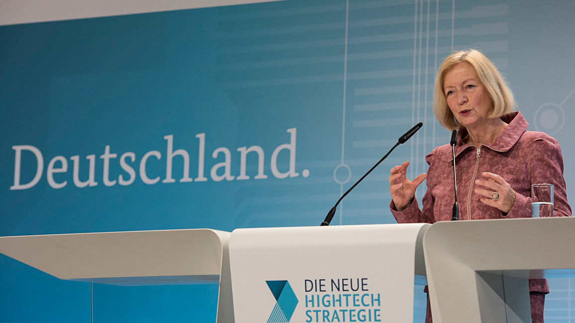 Bundesministerin Johanna Wanka während ihrer Rede im Rahmen des Hightech-Forums