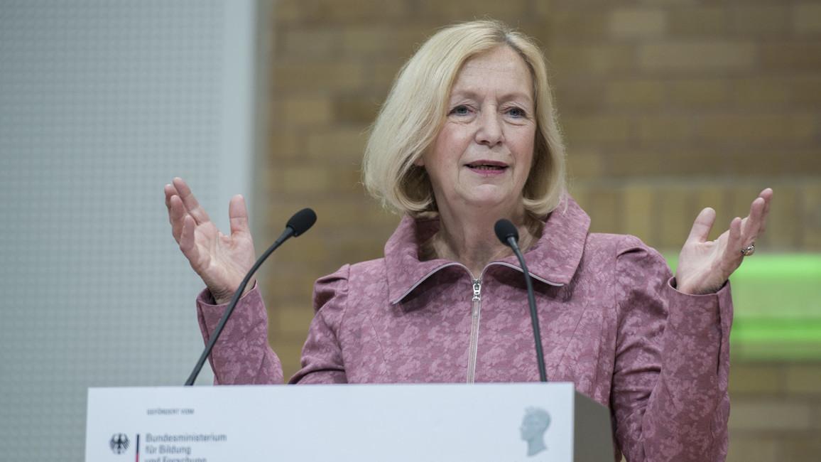 Bundesministerin Johanna Wanka während ihrer Festrede im Rahmen der Verleihung der Alexander von Humboldt-Professuren 2017