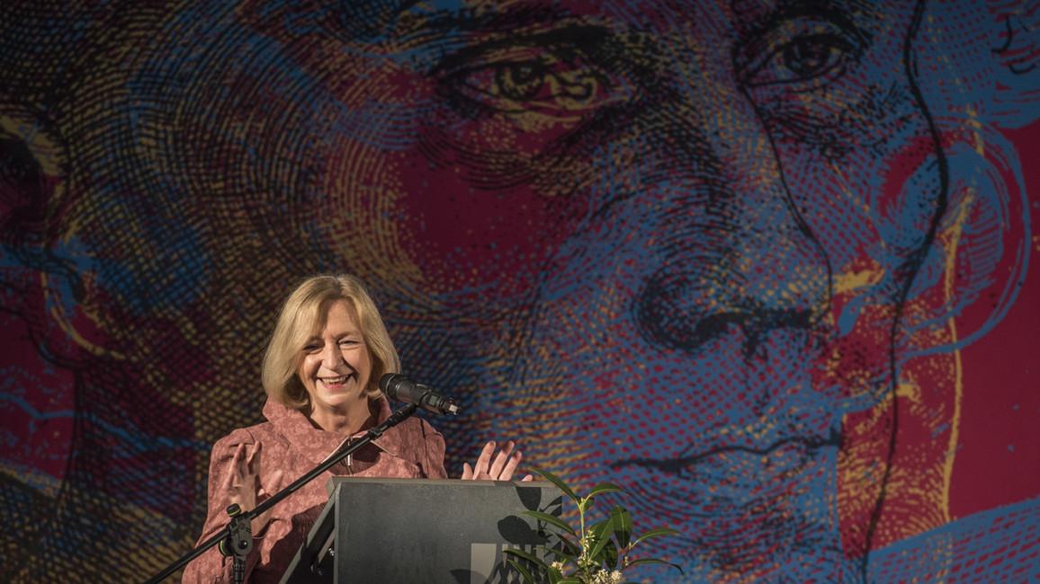 Bundesministerin Johanna Wanka hält im Rahmen des Festaktes zur Eröffnung der nationalen Sonderausstellung 'Luther! 95 Schätze - 95 Menschen' ein Grußwort