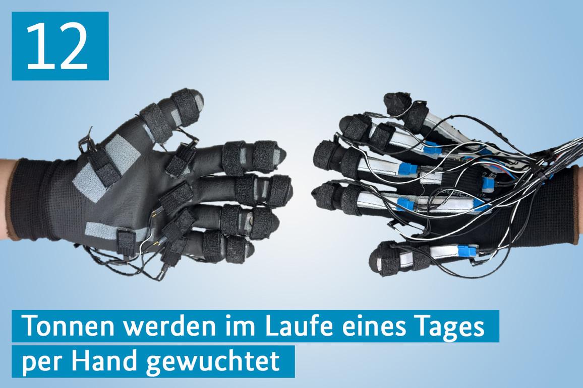 Ein Handschuhpaar mit Sensoren