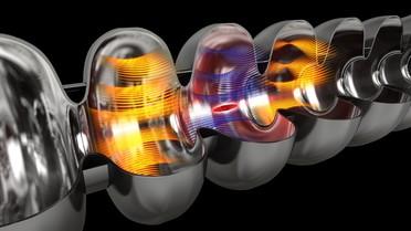 Computersimulation des Beschleunigervorgangs in einem supraleitenden Hohlraumresonator: Elektromagnetische Felder beschleunigen die Elektronen in supraleitenden Resonatoren aus Niob
