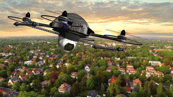 Drohne über einer Stadt