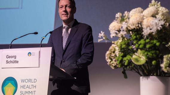 Georg Schütte, Staatssekretär im Bundesministerium für Bildung und Forschung, während seiner Rede im Rahmen des World Health Summit 2017