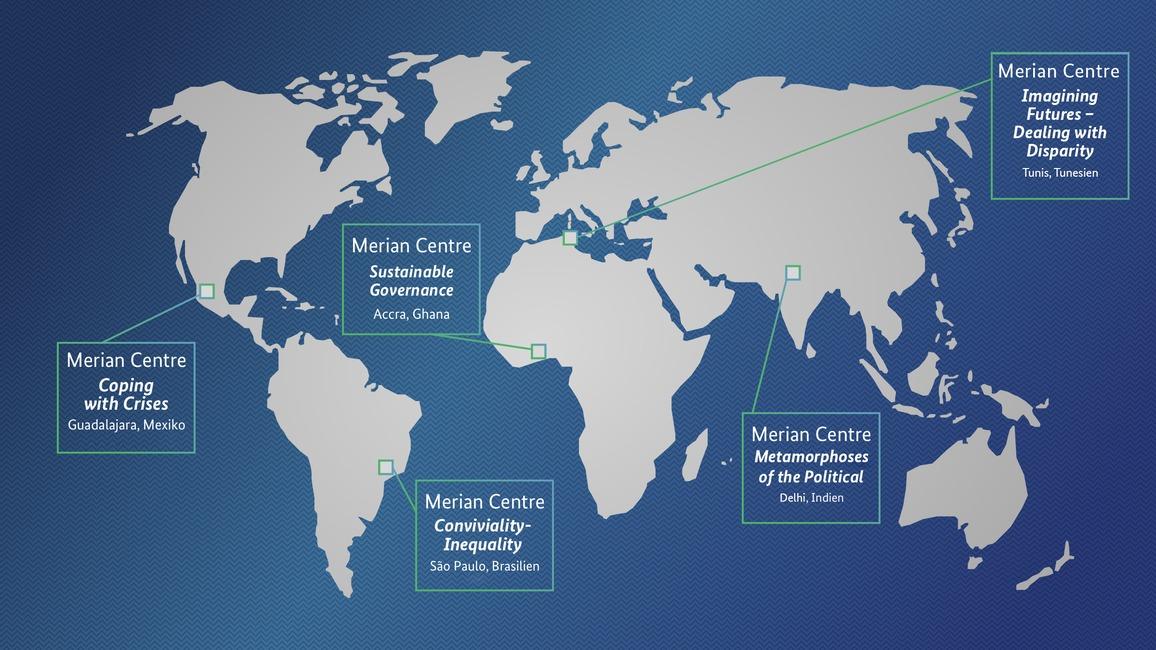 Karte mit den Forschungskollegs der Merian-Center