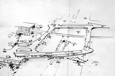 Sergius Ruegenberg, Rund um den Zoo, Luftperspektive auf Flughafen, 1948