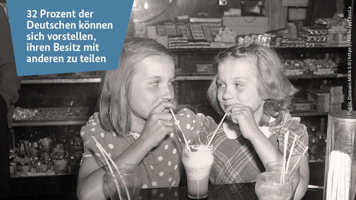 Zwei Mädchen teilen sich ein Milchshake